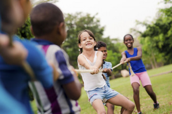 Allergy-free children playing at summer camp