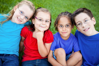 Children wearing glasses.
