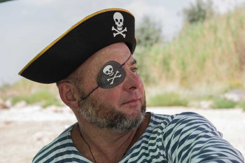 A pirate wears an eyepatch