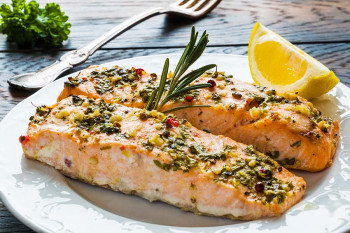 Salmon with garlic, good for boosting the immune system